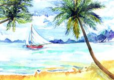Beach, sea, yacht. Hand painted Watercolor Illustration «Beach, sea, yacht Stock Images