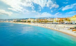 Beach and seafront in Nice. Cote D`Azur, France. Panoramic view of beach and seafront in Nice. Cote D`Azur, France royalty free stock image