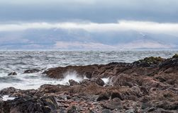 From the Beach at Seamill To Arran Mountains stock photography