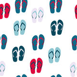 Beach Seamless Background with Flip Flops Vector Stock Image