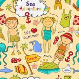 Beach seamless pattern in doodle style Stock Photos