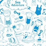 Beach seamless pattern in doodle style Stock Photo