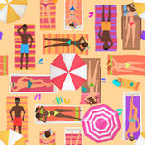 Beach seamless pattern top view. Summer people on a sunny beach. View from above summertime people with Umbrellas. Towels and sunbeds. Cartoon vector Royalty Free Stock Photo