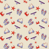 Beach seamless pattern. Vector background. Stock Photo