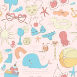 Beach seamless pattern Royalty Free Stock Photography