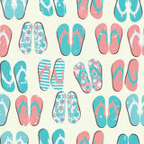 Beach Seamless Retro Grunge Background witj Flip Flops Royalty Free Stock Images