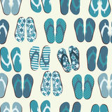 Beach Seamless Retro Grunge Background witj Flip Flops Stock Images