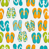 Beach Seamless Retro Grunge Background witj Flip Flops Royalty Free Stock Image