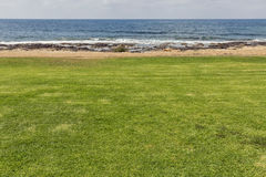 Beach seascape with green lawn Royalty Free Stock Images