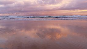 Beach Seascape Sunset waves on sand stock footage