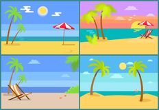 Beach and Seascapes Collection Vector Illustration. Beach seascapes collection, palm trees and sun shining brightly, umbrella over hammock-chair, starfish on royalty free illustration