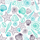 Beach Seashell Pattern. Vector seamless pattern with seashells doodle style. Stock Photos