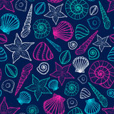 Beach Seashell Pattern. Vector seamless pattern with seashells doodle style. Stock Photo