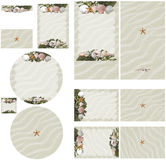 Beach seashell and seaweed theme in white sand wedding invitation set 2 Royalty Free Stock Image
