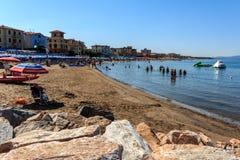 Beach in the seaside resort San Vincenzo, Tuscany, Italy stock photo