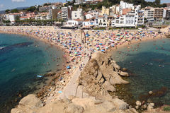 Beach in the seaside town of Blanes, Royalty Free Stock Photos