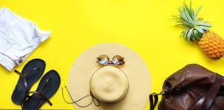 Beach Season Straw Hat Slippers Shorts Pineapple Royalty Free Stock Image