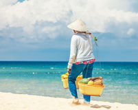 Beach seller of fruits Royalty Free Stock Photo