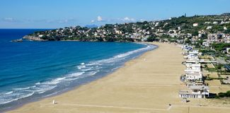 The beach of Serapo. Serapo beach in Gaeta in Italy in October Stock Photo