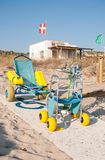 Beach with services for people with reduced mobility in Menorca. Wheelchair, crutches, walker for the disabled with first aid station in the beach of Cala Son Stock Photography
