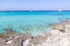 Beach Ses Illetas, Formentera,   Spain. Ses Illetas beach in Formentera,  Balearic Islands, Spain Royalty Free Stock Photo
