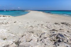 Beach Ses Illetas, Formentera,   Spain. Ses Illetas beach in Formentera,  Balearic Islands, Spain Stock Photo