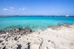 Beach Ses Illetas, Formentera,   Spain. Ses Illetas beach in Formentera,  Balearic Islands, Spain Royalty Free Stock Photography