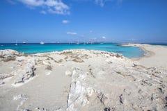 Beach Ses Illetas, Formentera,   Spain. Ses Illetas beach in Formentera,  Balearic Islands, Spain Royalty Free Stock Images