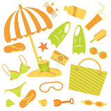 Beach set. A colorful vector illustration of beach accessories Royalty Free Stock Photos