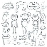 Beach  set  in doodle style Royalty Free Stock Photography