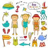 Beach  set  in doodle style Royalty Free Stock Images