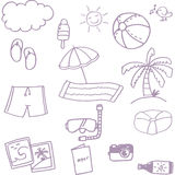 Beach set doodle vector Stock Photography