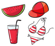 Beach set with drink and bikini Royalty Free Stock Images