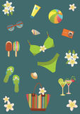 Beach set icons. Stock Photo