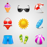 Beach set of icons Stock Photo