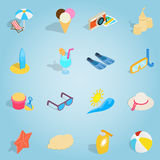 Beach set icons, isometric 3d style Royalty Free Stock Images