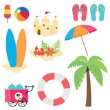 Beach. Set of isolated elements about summer beach Stock Photos