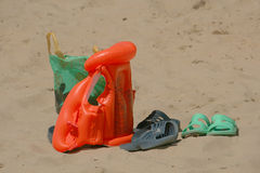 Beach set. Sandals, bag, inflatable jacket. Royalty Free Stock Image