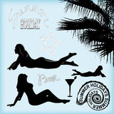Beach set. Set of beach silhouettes for design. tanned girls. Palma. drink. cocktail. inscriptions rope. for design. vector illustration Royalty Free Stock Photos