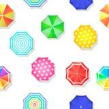 Beach set  of sun umbrellas top view seamless Stock Photos