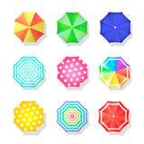 Beach set  of sun umbrellas top view. Summer Royalty Free Stock Image