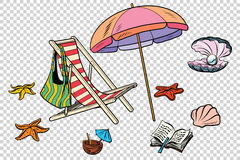 Beach set tourism and leisure on the sea isolate Royalty Free Stock Images