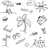 Beach set vector of doodle Royalty Free Stock Photography