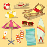Beach set.Vector Stock Photo