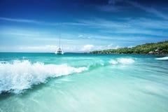 Beach at Seychelles, Praslin, Anse Lazio Royalty Free Stock Images
