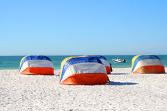 Beach shade. Colorful shady canopies along the beach in Florida along the Gulf Coast in Clearwater Beach Stock Photo