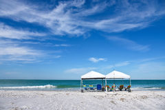 Beach Shelter and Chairs Stock Photos