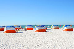 Beach shelters Stock Image