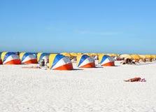 Beach shelters royalty free stock photo