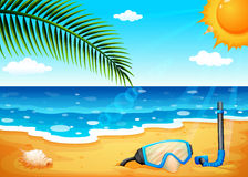 A beach with a shinning sun. Illustration of a beach with a shinning sun Royalty Free Stock Image